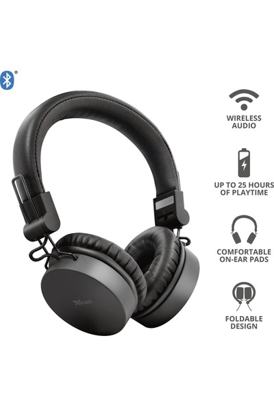 Trust Tones Siyah Bluetooth Kulak Üstü Kulaklık + Pembe Powerbank + Bluetooth Hoparlör + Kablosuz Şarj Cihazı + Mouse