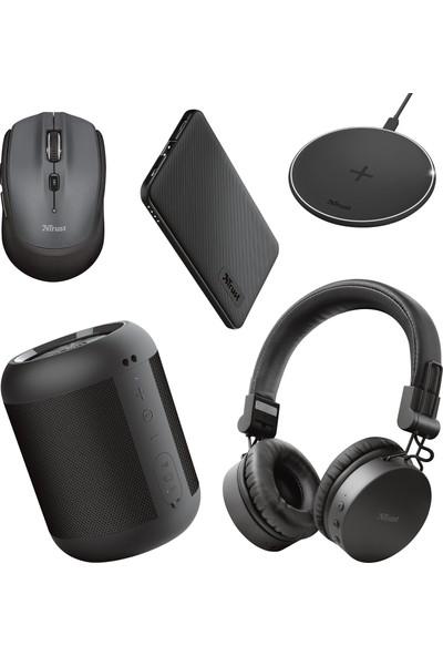 Trust Tones Siyah Bluetooth Kulak Üstü Kulaklık + Siyah Powerbank + Bluetooth Hoparlör + Kablosuz Şarj Cihazı + Mouse