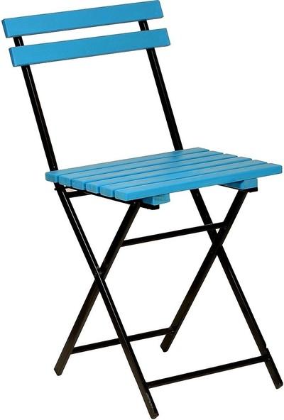 Zizuva Ahşap Mavi Katlanır Sandalye