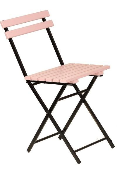 Zizuva Ahşap Pembe Katlanır Sandalye