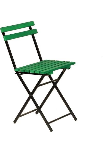 Zizuva Ahşap Yeşil Katlanır Sandalye