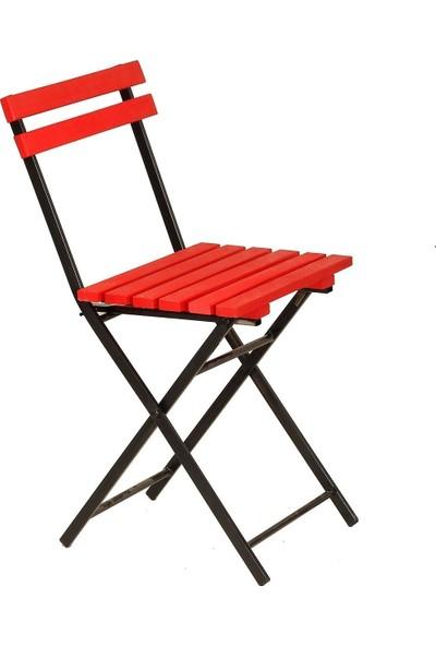 Zizuva Ahşap Kırmızı Katlanır Sandalye