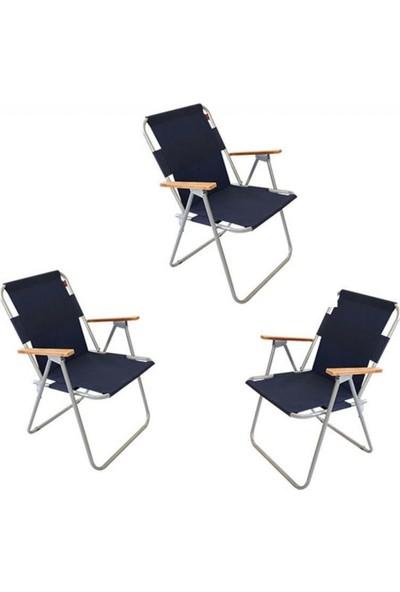 Zizuva Ahşap Kollu Katlanır - 3 Lü Sandalye