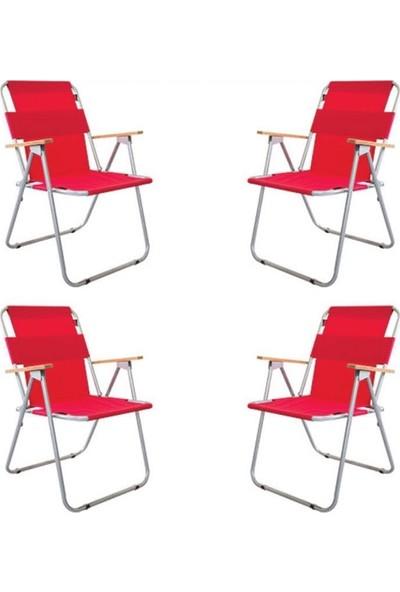 Zizuva Ahşap Kollu Katlanır - 4 Lü Sandalye