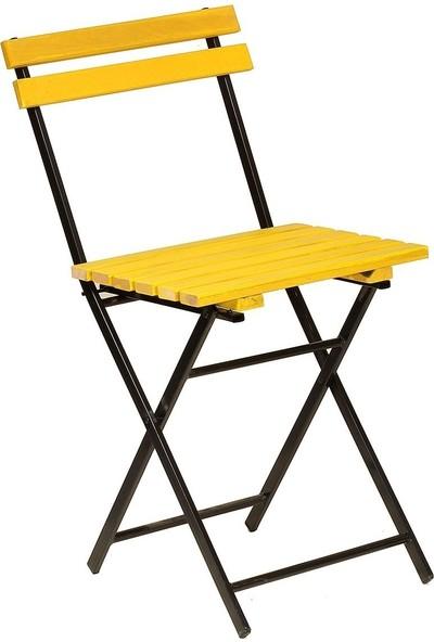 Zizuva Ahşap Sarı Katlanır Sandalye