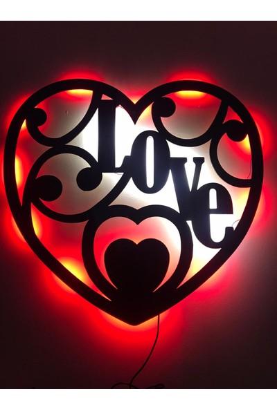 Dekoraven Love Kalp Işıklı Tablo