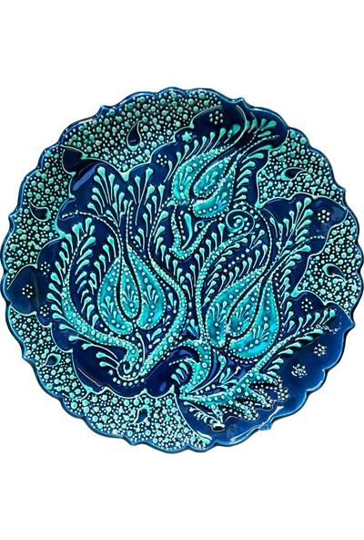 Otogar Çini El Yapımı Kabartma Motifli Çini Tabak Turkuaz Renk Motifli ,lacivert Zemli, 25 cm