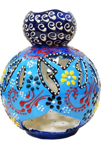 Otogar Çini El Yapımı Çini Seramik Mumluk&buhurdanlık Mavi ,dantel Kabartma Motifli