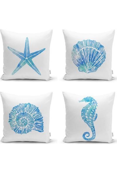 RealHomes 4'lü Deniz Canlıları Konseptli Dekoratif Yastık & Kırlent Kılıfı Seti