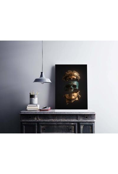 Dekoliya Kuru Kafa Temalı Heykel Dekoratif Kanvas Tablo 30 x 45 cm