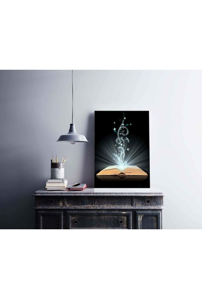 Dekoliya Bilginin Kaynağı Kitap Temalı Dekoratif Kanvas Tablo 30 x 45 cm