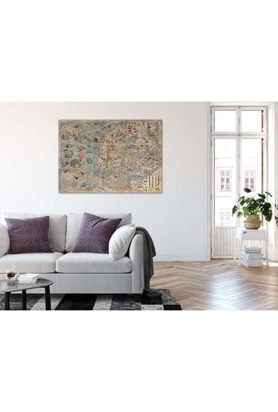 Dekoliya Eski Yıllara Ait Dünya Haritası Dekoratif Kanvas Tablo 30 x 45 cm