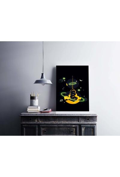 Dekoliya Ufo Temalı Uzay Dekoratif Kanvas Tablo 30 x 45 cm