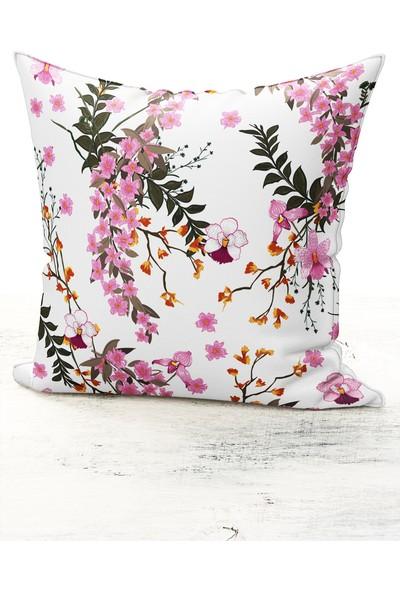 Bk Home Dekor Modern Lila Çiçek Desen Kırlent Kılıfı