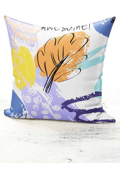 Bk Home Dekor Modern Renkli Awesome Desen Kırlent Kılıfı