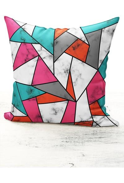 Bk Home Dekor Modern Renkli Mermer Desen Kırlent Kılıfı