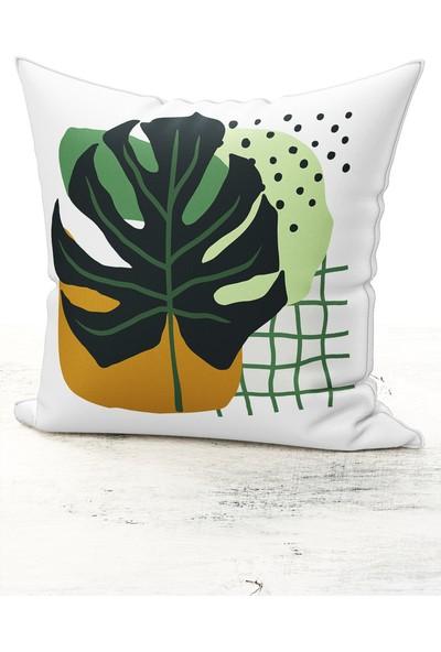 Bk Home Dekor Modern Soyut Yaprak Model Kırlent Kılıfı