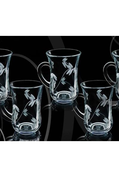 Paşabahçe Başak Keyif Doğa Dekor 12 Adet Kulplu Çay Bardağı