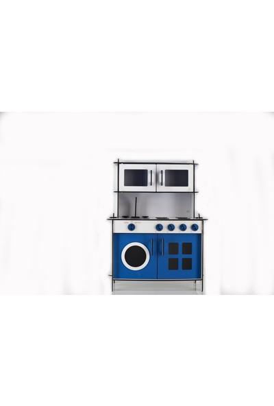 Emrin Oyuncak Hediyelik - Mavi Renkli Montessori Ahşap Evcilik Oyuncak Mutfak Seti