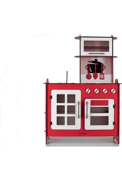 Emrin Oyuncak Hediyelik - Kırmızı Renk Ahşap Oyuncak Montessori Evcilik Mutfak Seti