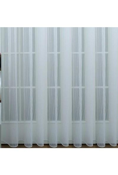 Beyazıt Tekstil Çizgili Tül Perde 1/3 Sık Pile