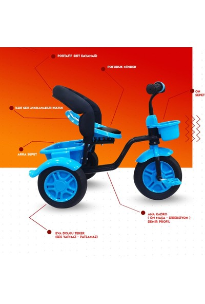 Rival RV503 Volt 3 Tekerli Çocuk Bisikleti Eva Dolgu, Patlamaz Ses Yapmaz