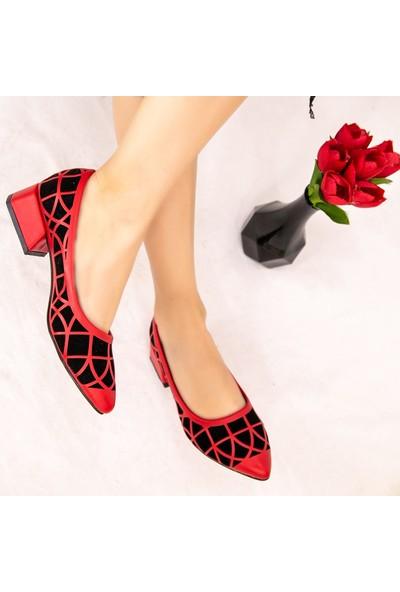 7erbilden Cesxi Kırmızı Cilt Siyah Süet Detaylı Ayakkabı