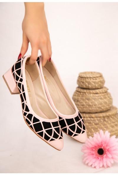 7erbilden Cesxi Pudra Cilt Siyah Süet Detaylı Ayakkabı