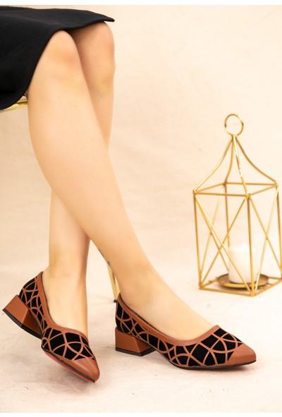 7erbilden Cesxi Taba Cilt Siyah Süet Detaylı Ayakkabı