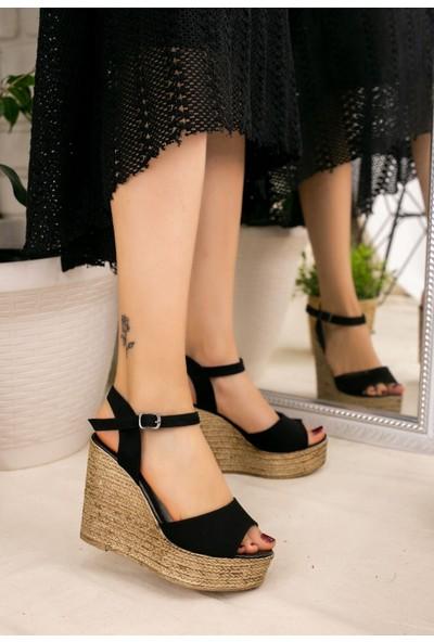 7erbilden Loya Siyah Süet Dolgu Topuk Sandalet