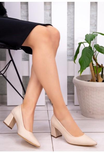 7erbilden Manina Krem Cilt Topuklu Ayakkabı