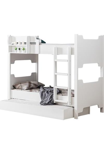 Setay Ranza, Avrasya Ayrılabilir Ranza / Yavrulu Ranza, Beyaz + 2 Adet Comfort Yaylı Yatak