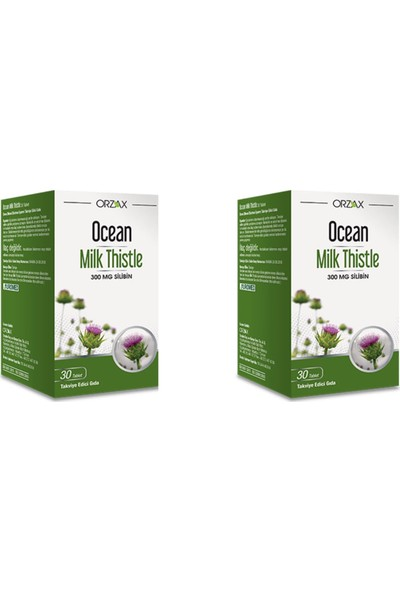 Orzax Ocean Milk Thistle 30 Tablet 2'li Paket