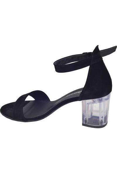 Ayka Trend 2013-05 Süet Şeffaf 7 cm Topuk Kadın Sandalet Ayakkabı