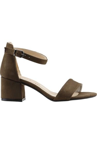 Ayka Trend Bsm 62-5 Süet 5 cm Topuk Kadın Sandalet Ayakkabı