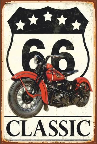 Atc Route 66 Klasik Motor Retro Vintage Ahşap Poster 2030019