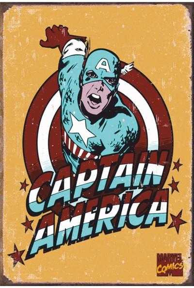 Atc Captain America Retro Vintage Ahşap Poster 2030013