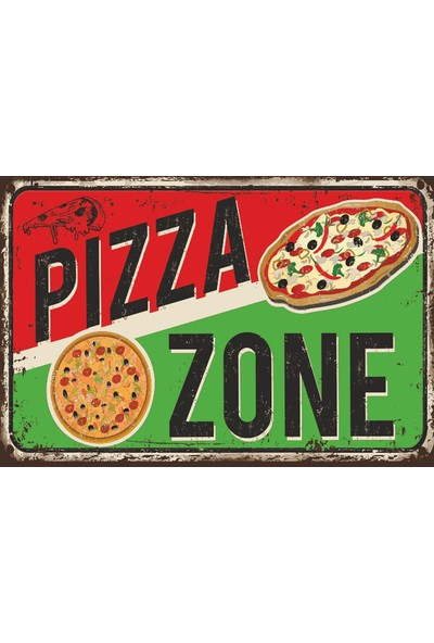 Atc Pizza Retro Vintage Ahşap Poster