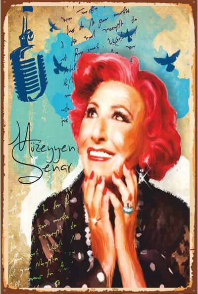 Atc Müzeyyen Senar Retro Vintage Ahşap Poster