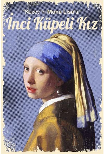 Hayal Poster Inci Küpeli Kız Retro Ahşap POSTER001