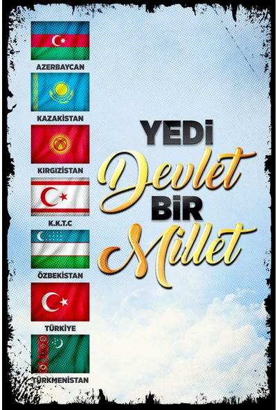 Hayal Poster Yedi Devlet Bir Millet Ahşap Poster