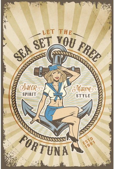 Hayal Poster Sea Set You Freee Retro Ahşap Poster