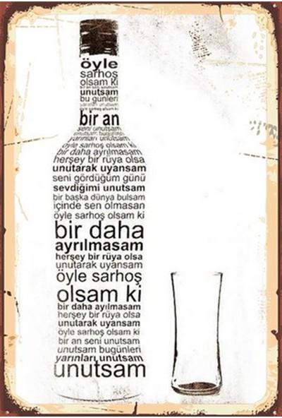 Aldebaran Reklam Rakı Ahşap Retro Poster