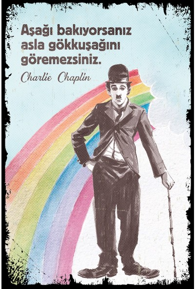 Aldebaran Reklam Charlie Chaplin Ahşap Retro Poster