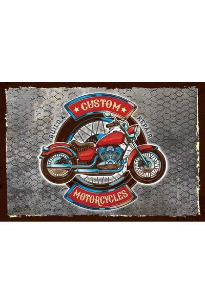 Aldebaran Reklam Custom Motorcycles Ahşap Retro Vintage Poster