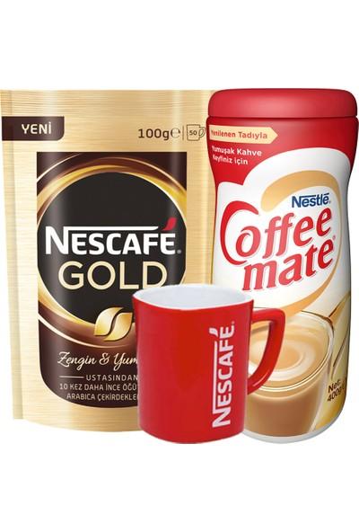 Nescafe Gold Hazır Kahve Eko Paket 100 gr + Coffee Mate Kahve Kreması 400 gr + Kupa Bardak