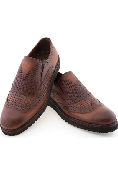 Koçel Taba Baskılı Zımba Delikli Wingtip Klasik Erkek Ayakkabı