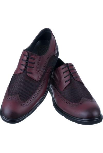 Libano Bordo Hasırlı Wingtip Bağcıklı Klasik Erkek Ayakkabı