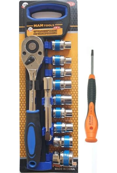 Mam Tools 1/2 Lokma Takımı 8-10-11-12-13-14-15-17-22+Ri-Mark T 8 Tork Tornavida