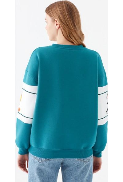 Mavi Kadın Tweety Sylvester Baskılı Mavi Sweatshirt 1600829-34635